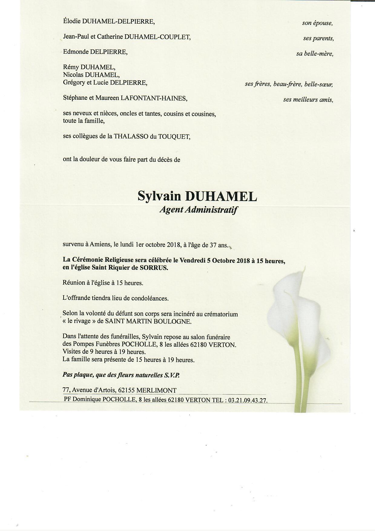 Avis De Décès Sylvain Duhamel