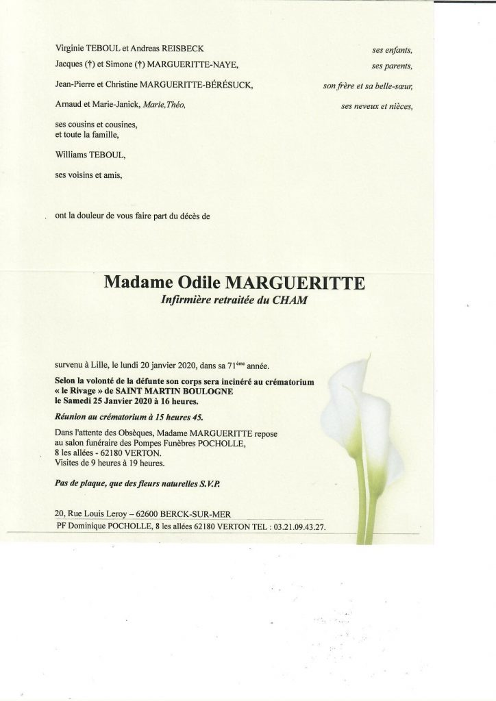 FAIRE PART MARGUERITTE